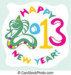 nieuw, slang, kaart, jaar