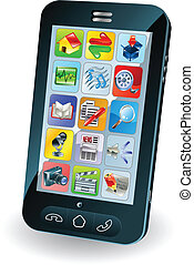 nieuw, smart, mobiele telefoon