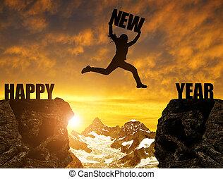 nieuw, springt, silhouette, meisje, jaar