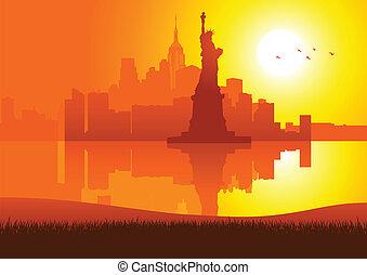 nieuw, stad, ondergaande zon , york