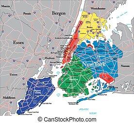 nieuw, stad, york, kaart