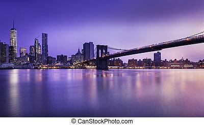 nieuw, stad, york, lichten