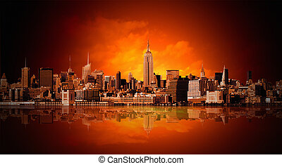 nieuw, stad, york, panorama