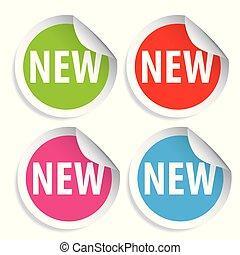 nieuw, sticker, ronde, rood, etiket