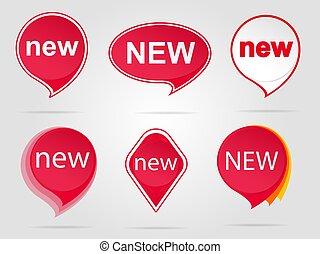 nieuw, sticker, set, rood