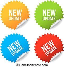 nieuw, sticker, update