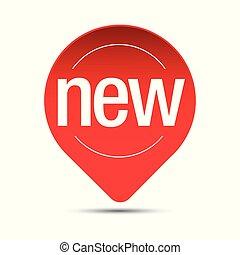 nieuw, sticker, vector, label, wijzer