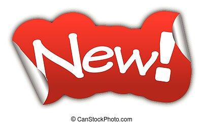 nieuw, sticker, vector, rood