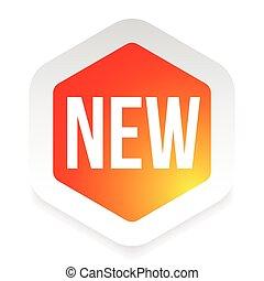 nieuw, sticker, zeshoek, rood, etiket
