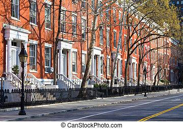 nieuw, straat, stadsscène, york