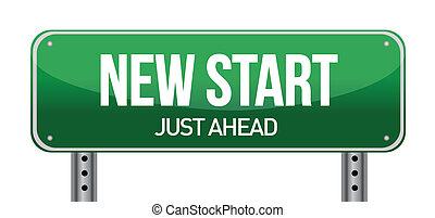 nieuw, straat, start, meldingsbord