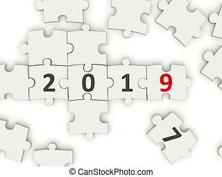 nieuw, symbool, 2019, raadsel, jaar