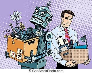 nieuw, technologieën, vervangt, robot, menselijk