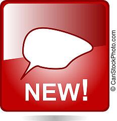 nieuw, tekstballonetje, pictogram, web, knoop