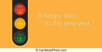 nieuw, thema, vrolijke , jaar