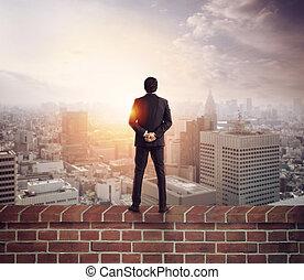 nieuw, toekomst, blik, kansen, zakenman