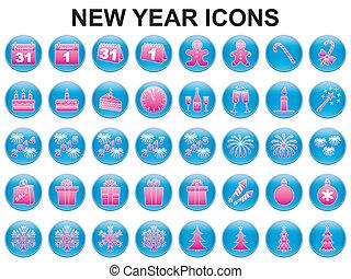 nieuw, vakantie, jaar, iconen