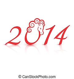 nieuw, vector, 2014, illustratie, jaar