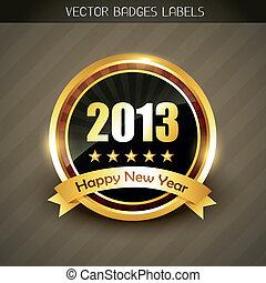 nieuw, vector, jaar, etiket