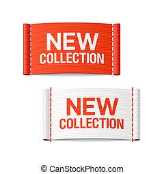 nieuw, verzameling, kleding, etiketten