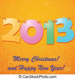 nieuw, vrolijke , 2013, achtergrond, jaar