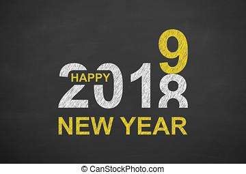 nieuw, vrolijke , 2019, chalkboard, jaar
