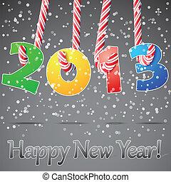 nieuw, vrolijke , achtergrond., 2013, jaar