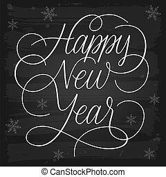 nieuw, vrolijke , begroetenen, chalkboard, jaar