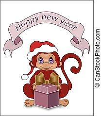 nieuw, vrolijke , wensen, aap, jaar