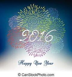 nieuw, vuurwerk, 2016, vrolijke , jaar