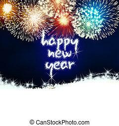 nieuw, vuurwerk, vrolijke , vuurwerk, jaar
