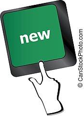 nieuw, warme, woord, klee, toetsenbord