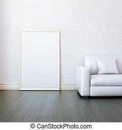 nieuw, wite kamer, met, leeg, frame