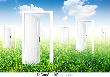 nieuw, world., deuren