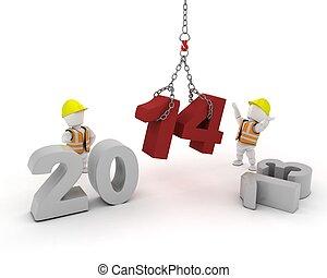 nieuw, year!, vrolijke