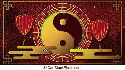 nieuw, ying, 4k, symbool, yang, animatie, jaar, chinees