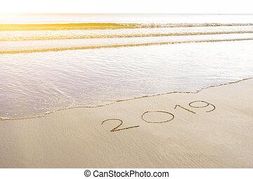 nieuw, zand strand, 2019, jaar