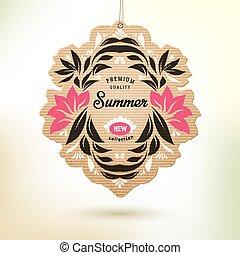 nieuw, zomer, verzameling, etiket