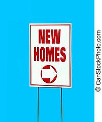 nieuwe huizen, meldingsbord