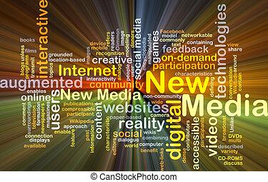nieuwe media, achtergrond, concept, gloeiend