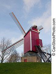 Nieuwe Papegaai Bosmolen windmill. Bruges, Belgium - Nieuwe ...