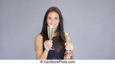 nieuwe vrouw, feestende, vivacious, jaar