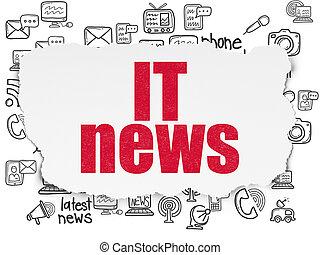 nieuws, concept:, informatietechnologie, nieuws, op, gescheurd document, achtergrond