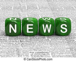 nieuws, dobbelsteen, tonen, dekking, van, huidige...