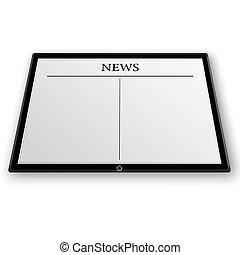 nieuws, op, tablet pc