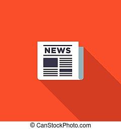 nieuws, pictogram, plat, ontwerp, vector, illustratie