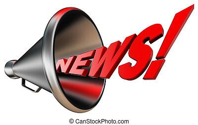 nieuws, rood, woord, en, metaal, bullhorn