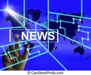 nieuws, scherm, optredens, wereldwijd, krant, of, media,...