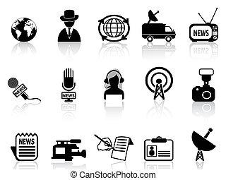 nieuws, set, reporter, iconen