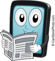 nieuws, tablet, illustratie, mascotte